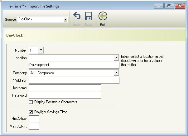e-PayDay® e-Time™ Import Settings Window