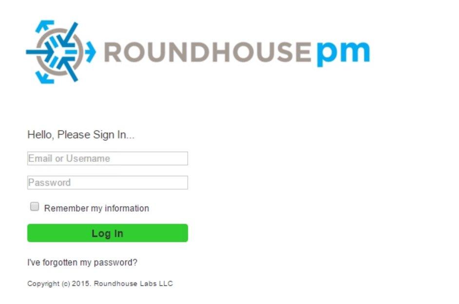 RoundhousePM Login Page
