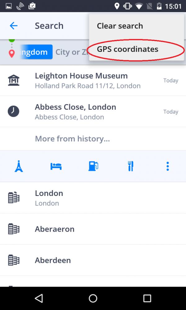 naviguer vers coordonn es gps sygic gps navigation for android 16 4. Black Bedroom Furniture Sets. Home Design Ideas