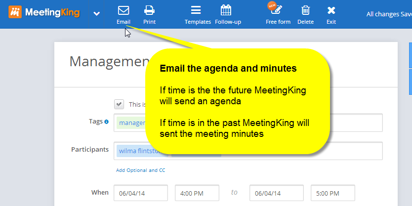 email the agenda and meeting minutes