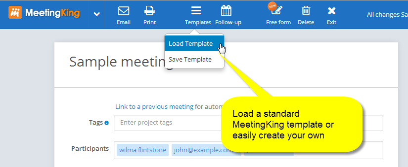 Select a standard meeting template for your agenda and minutes or create your own