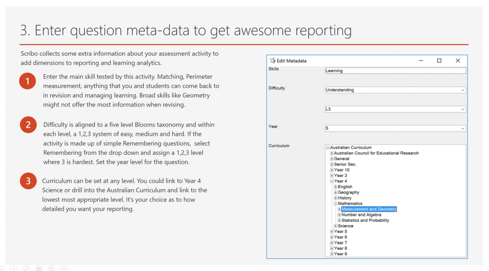 Enter meta-data to get awesome reporting - Scribo for PowerPoint and
