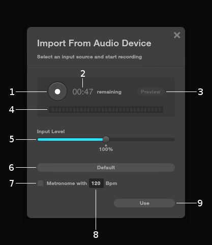 Import from audio device