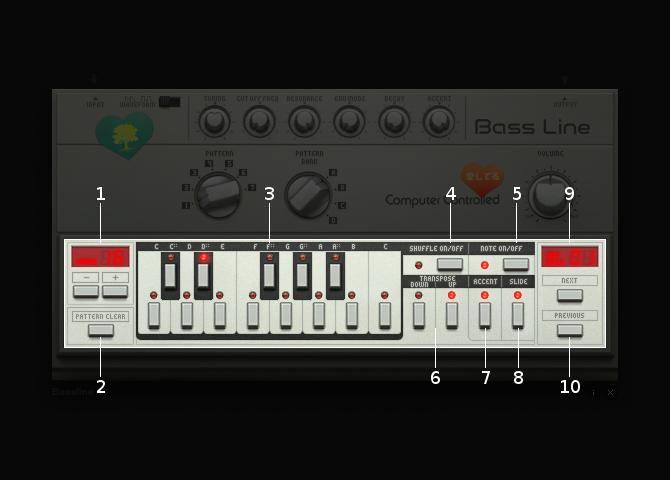 Bassline step sequencer section