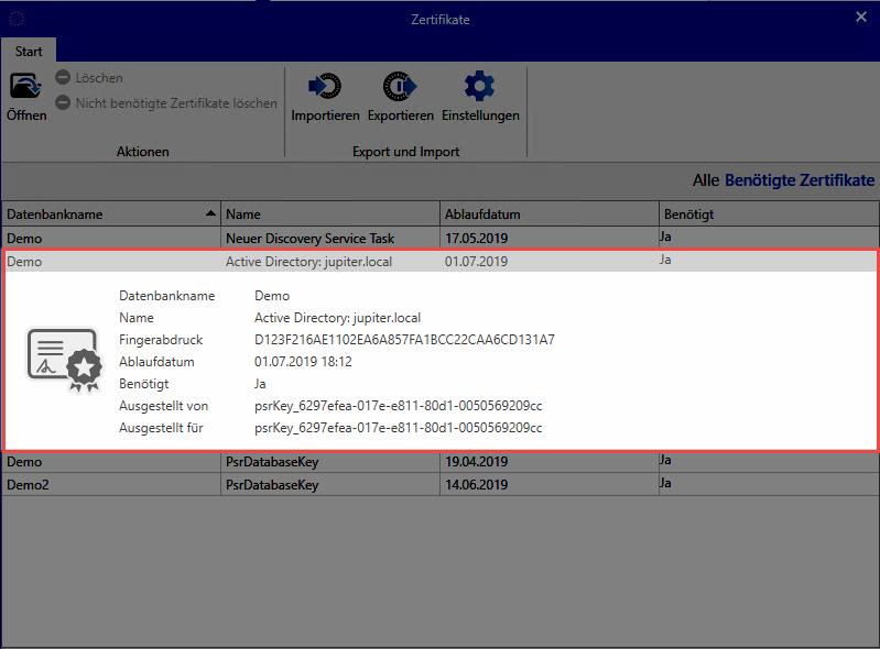 Master Key Zertifikate - Password Safe V8 - 8.5.0