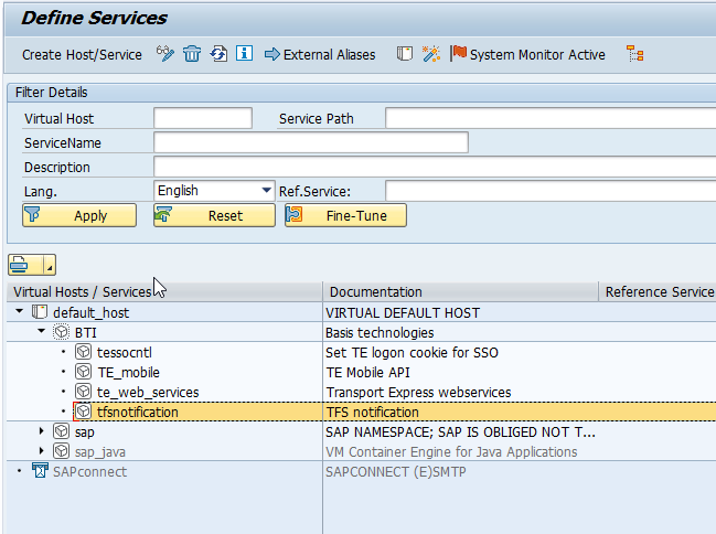 Check SICF for active Services - Integration Administration Guides - TFS