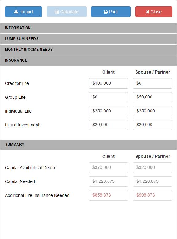 Life Insurance Needs RazorPlan User Guide 1 – Life Insurance Needs Analysis Worksheet
