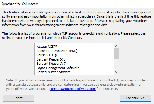 Synchronizing Volunteers with External Church Management Software