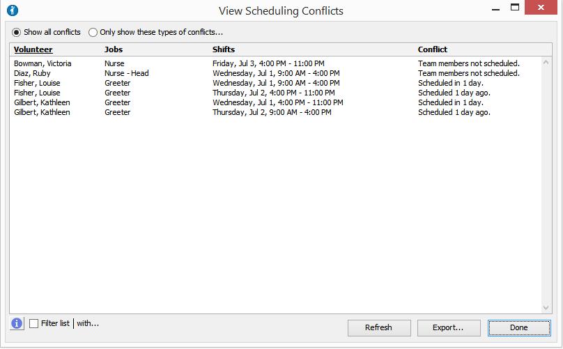 Scheduling Reports - Volunteer Scheduler Pro - 1