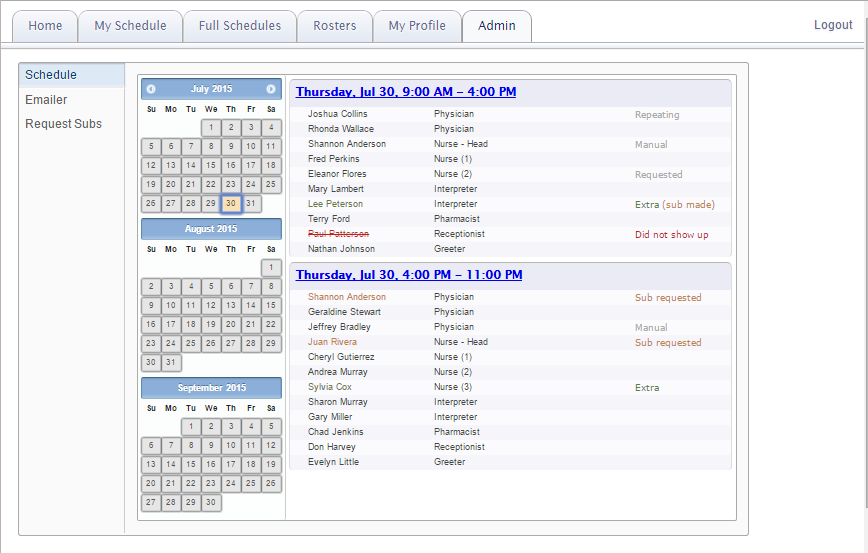 The First Thing A Shift Leader Will See When Clicking On Admin Tab Is Schedule For Upcoming Months Leaders Can Schedules That Are