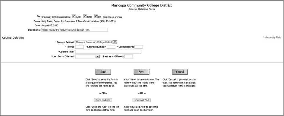 Course Deletion Form, Screen 1 of 1