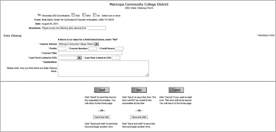 CEG Data Cleanup Form