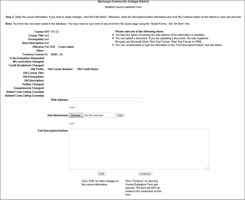Modified Course Evaluation Form, Screen 2 of 3