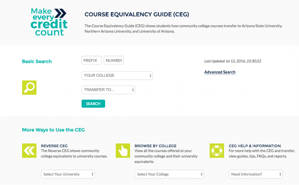 You can also find Reverse CEG, Browse by College and CEG Help and  Information. Steps to use the Course Equivalency Guide