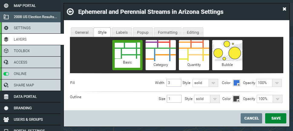 Basic layer style options