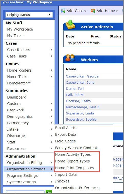 activity types report types print templates overview