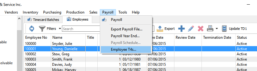 Payroll T4's and T4 Summary - Spire User Manual - 3 1