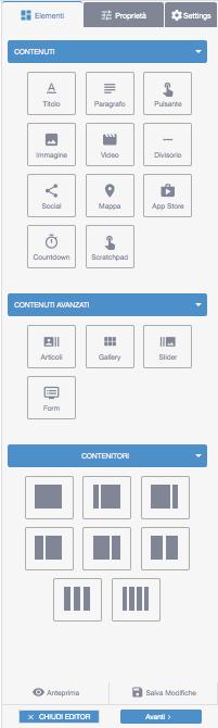 Elementi editor Landing Page