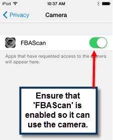 Activating the Camera Permission for FBAScan
