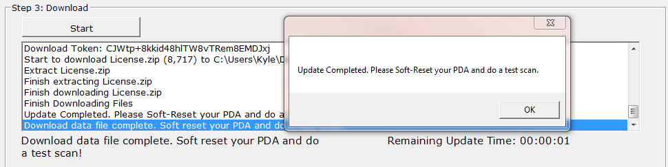 The Completion Pop Up Box for PC Downloader after a download.