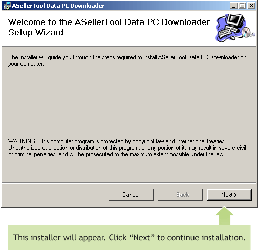 First Installer Screen for PC Downloader