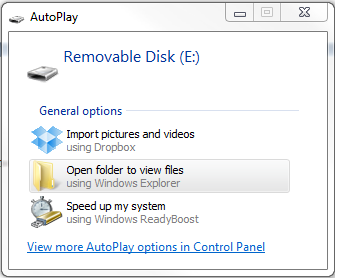 AutoPlay Windows for an SD Card in Windows 7