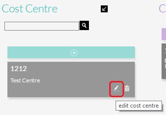 Edit a Cost Centre