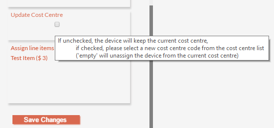 Update Cost Centre Checkbox