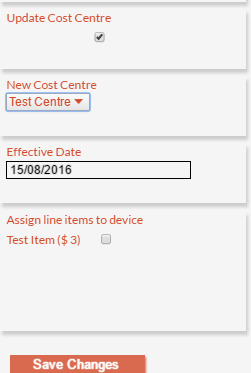 Assigning/Re-Assigning a Devices Cost Centre