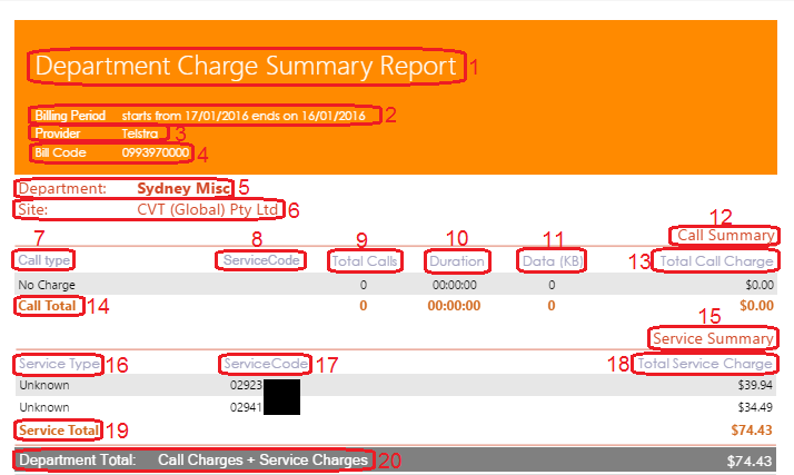 Department Charge Summary Report
