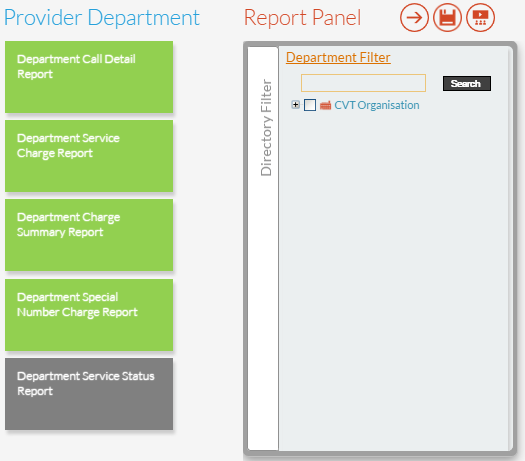 Department Service Status Report Panel