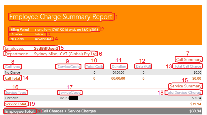 Employee Charge Summary Report