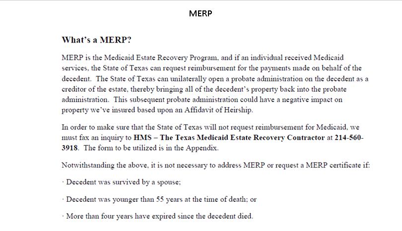 HEIRSHIP AFFIDAVITS and MERP - Escrow Procedures - 1