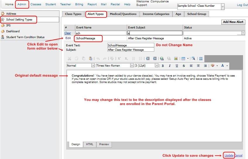 Online Registration/Parent Portal Alerts - Compudance Online